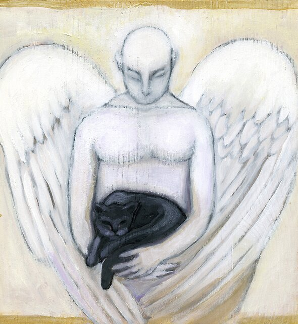 White angel holding black cat by AngelsTrail