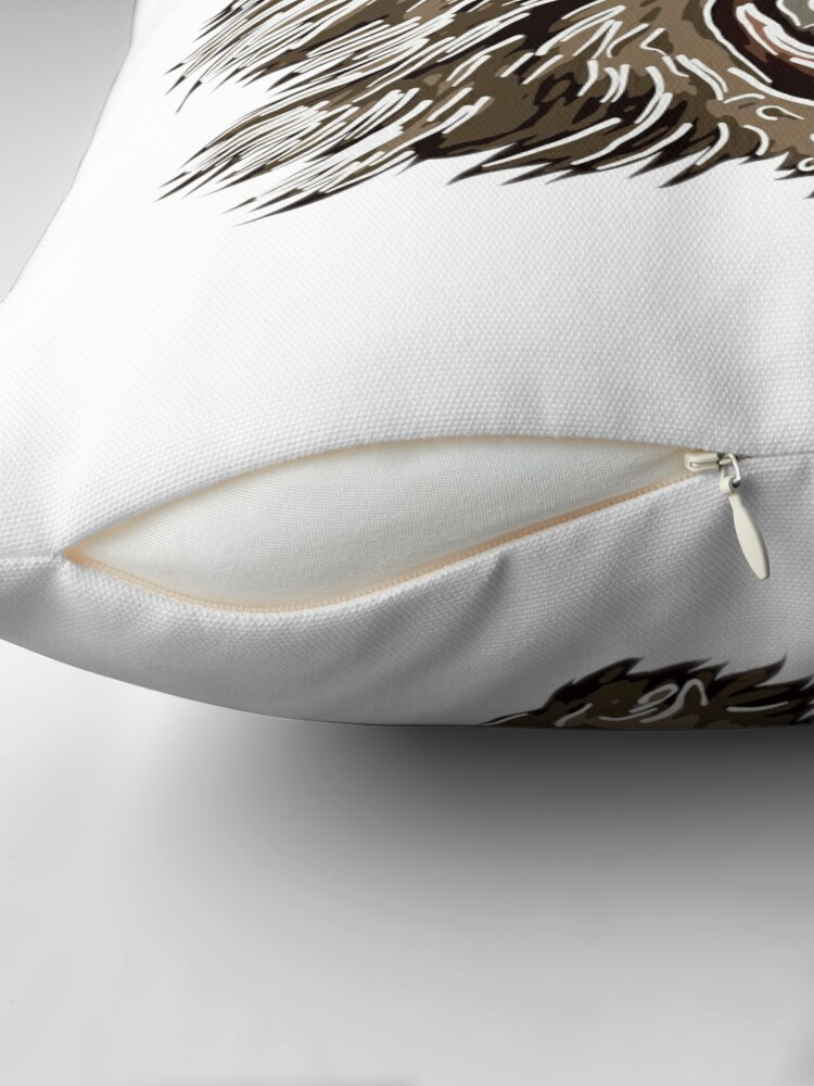 Alternate view of Head with fangs.White lines. Throw Pillow