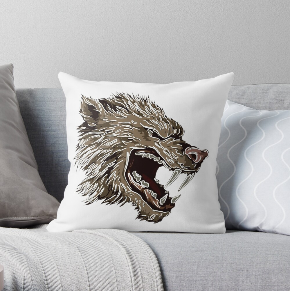 Head with fangs.White lines. Throw Pillow