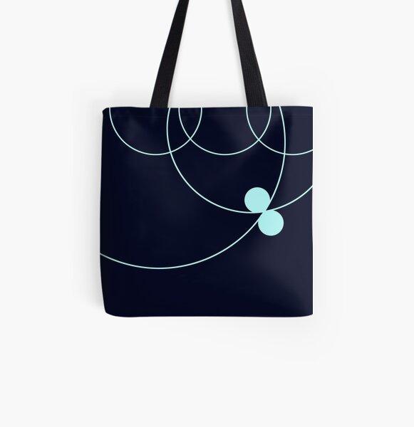 Midnight Blue Circles Pattern All Over Print Tote Bag