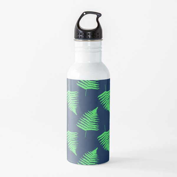Navy and Lime Fern Pattern Water Bottle