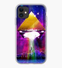 Abduction (Tetra) - Retro Synthwave UFO Pyramid iPhone Case