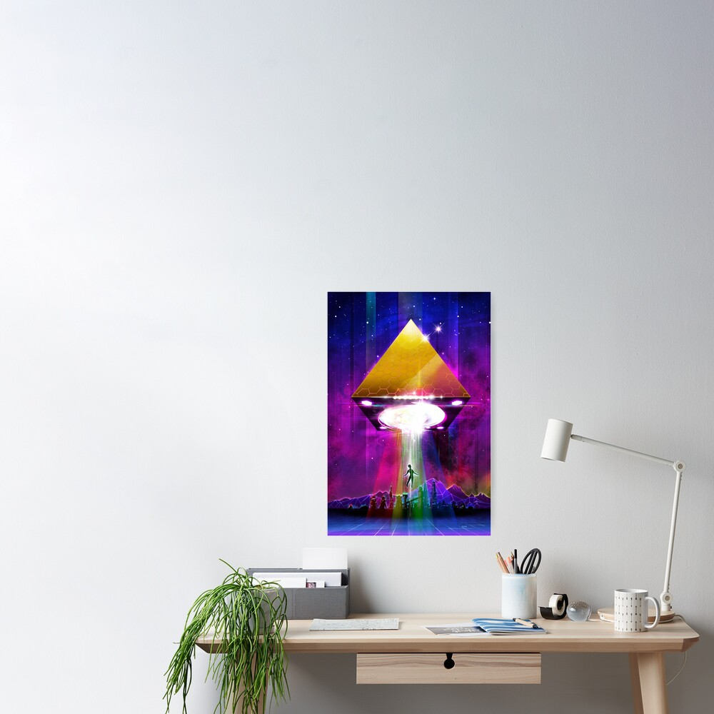Abduction (Tetra) - Retro Synthwave UFO Pyramid Poster