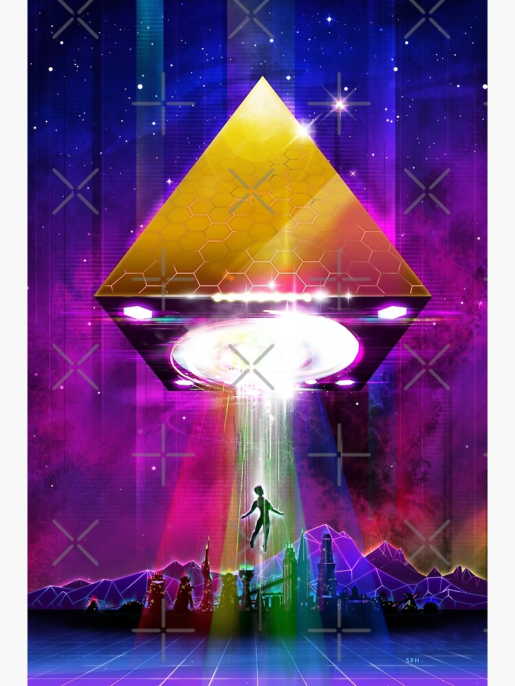 Abduction (Tetra) - Retro Synthwave UFO Pyramid by forge22