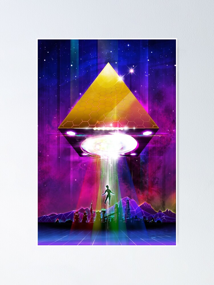 Alternate view of Abduction (Tetra) - Retro Synthwave UFO Pyramid Poster