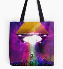 Abduction (Tetra) - Retro Synthwave UFO Pyramid Tote Bag