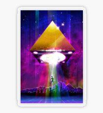 Abduction (Tetra) - Retro Synthwave UFO Pyramid Transparent Sticker