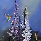 Foxglove and Hummingbirds by southshoreart
