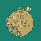 Go Smudge Yourself || Burning Sage Illustration || TEAL by chrystakay