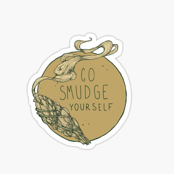 Go Smudge Yourself    Burning Sage Illustration    TEAL Sticker