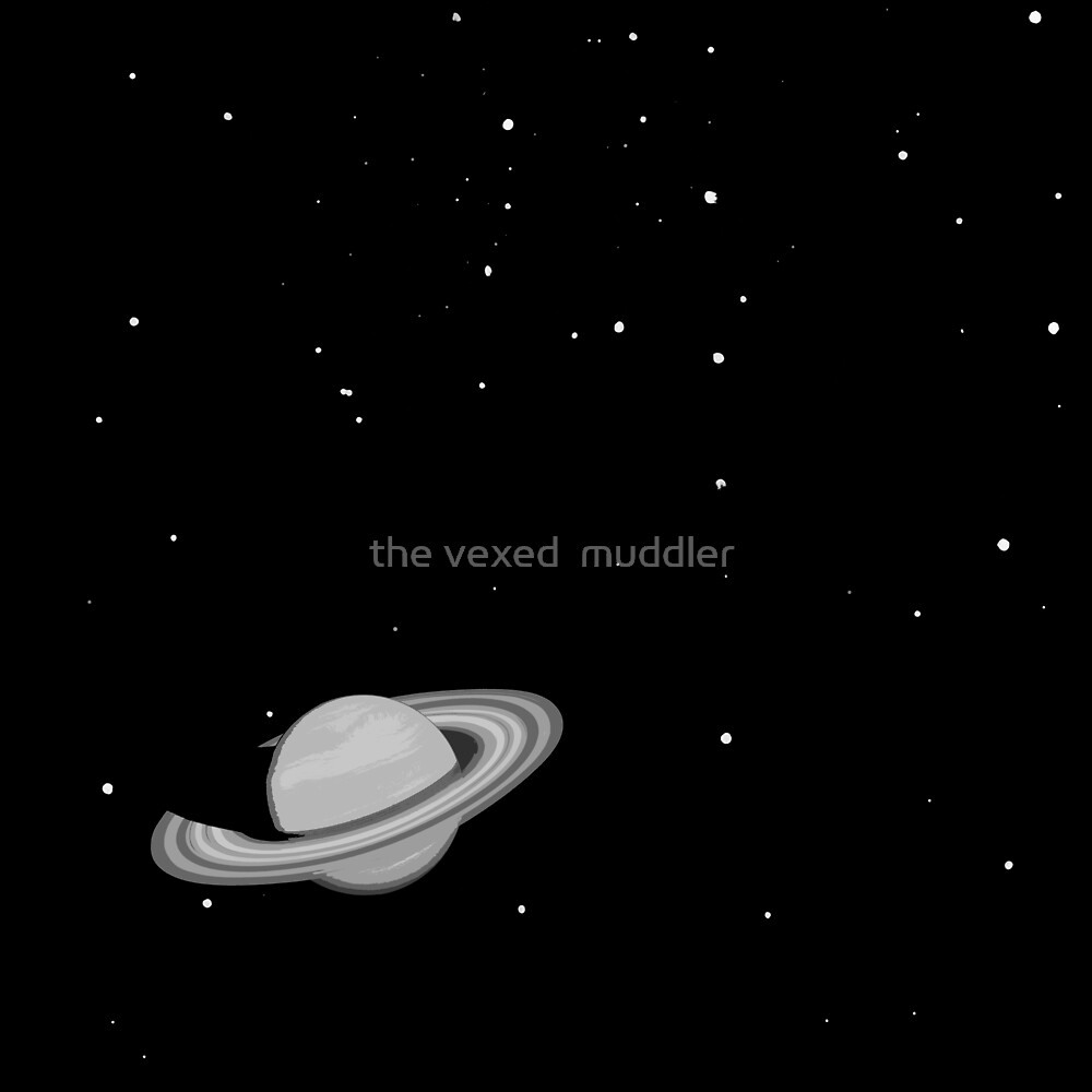 Black and White Saturn by the vexed  muddler