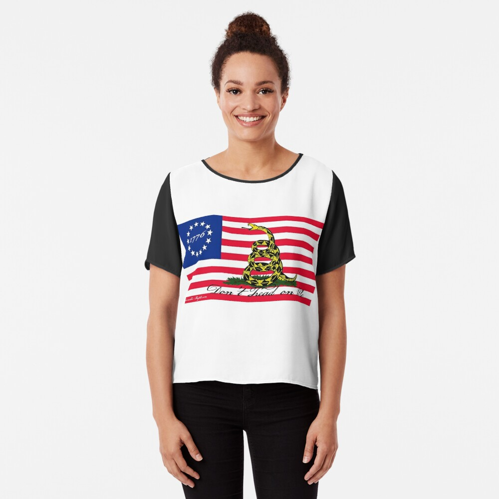 Betsy Ross-Gadsden Flag Chiffon Top