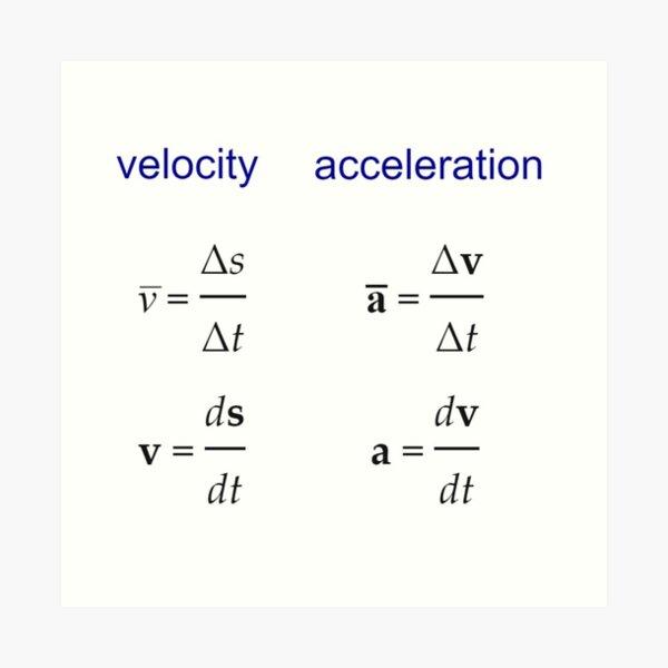 #Velocity, #Acceleration, #Physics, #Mechanics Art Print