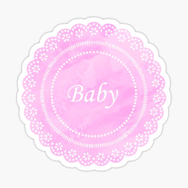 Pink Lace Doily Baby Sticker