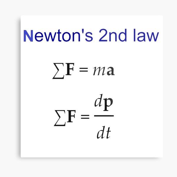 Physics Prints,  #Newton's Second Law, #NewtonsSecondLaw #Equation of #Motion, Velocity, Acceleration, Physics, Mechanics Metal Print