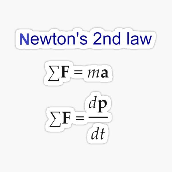 #Newton's Second Law, #NewtonsSecondLaw #Equation of #Motion, Velocity, Acceleration, Physics, Mechanics Sticker
