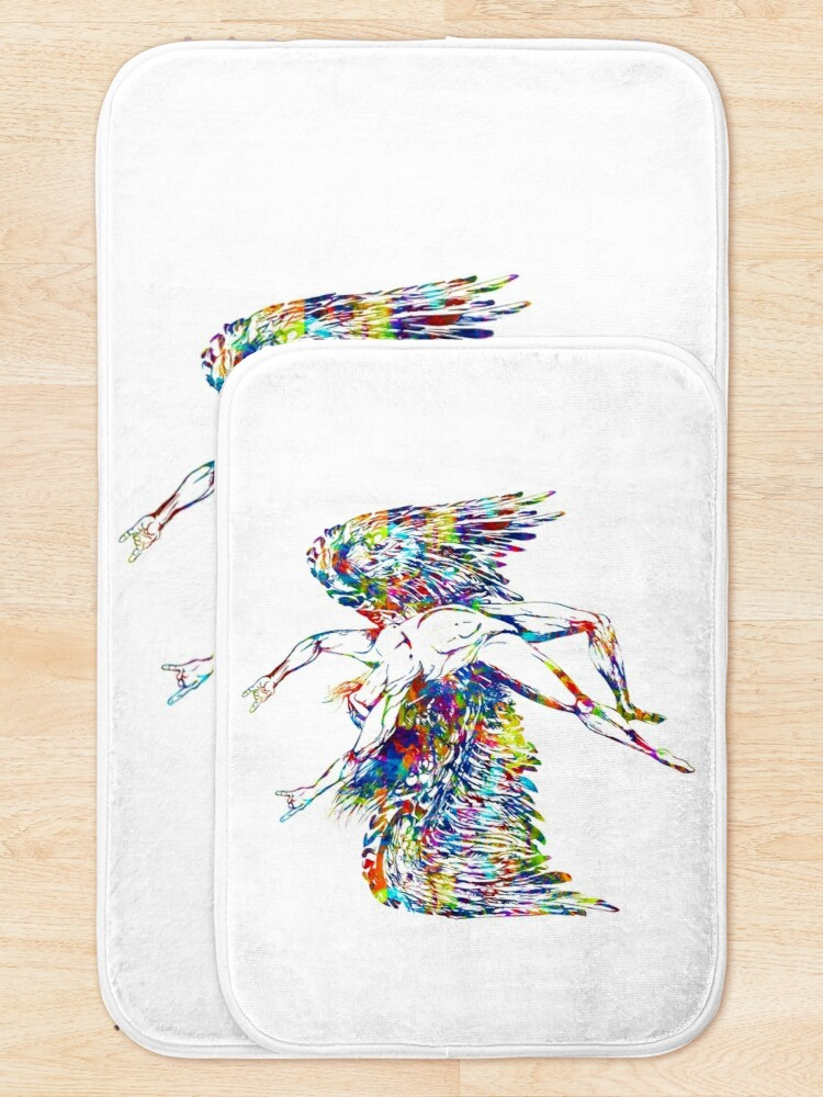 Alternate view of ICARUS THROWS THE HORNS - paint splotches  *awesome UNLISTED designs in my portfolio* Bath Mat