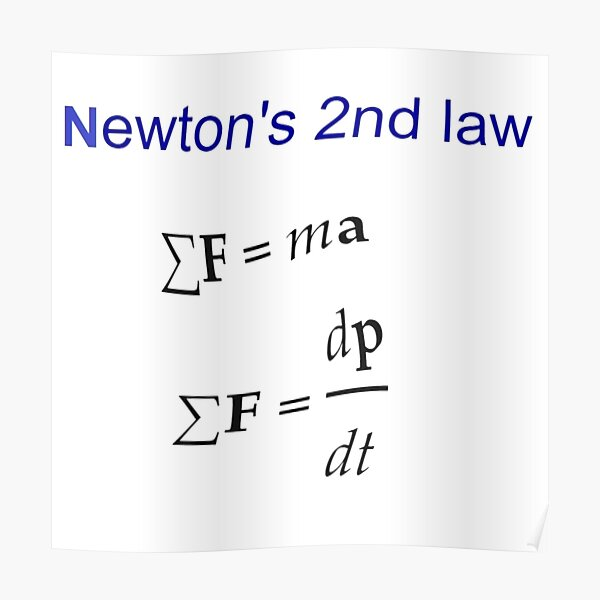 #Newton's Second Law, #NewtonsSecondLaw #Equation of #Motion, Velocity, Acceleration, Physics, Mechanics Poster