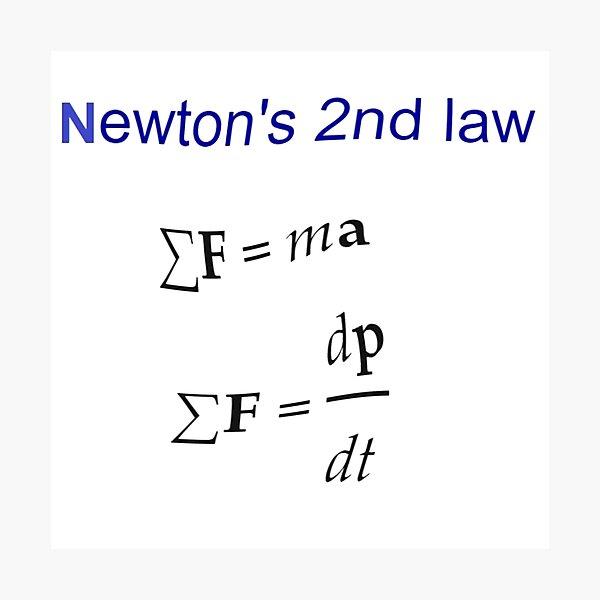 #Newton's Second Law, #NewtonsSecondLaw #Equation of #Motion, Velocity, Acceleration, Physics, Mechanics Photographic Print