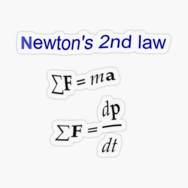 #Newton's Second Law, #NewtonsSecondLaw #Equation of #Motion, Velocity, Acceleration, Physics, Mechanics Transparent Sticker