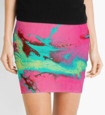 Babble - Pink + Turquoise Abstract Mini Skirt