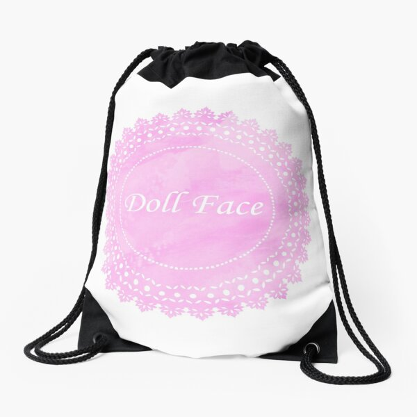 Pink Lace Doily Doll Face Drawstring Bag