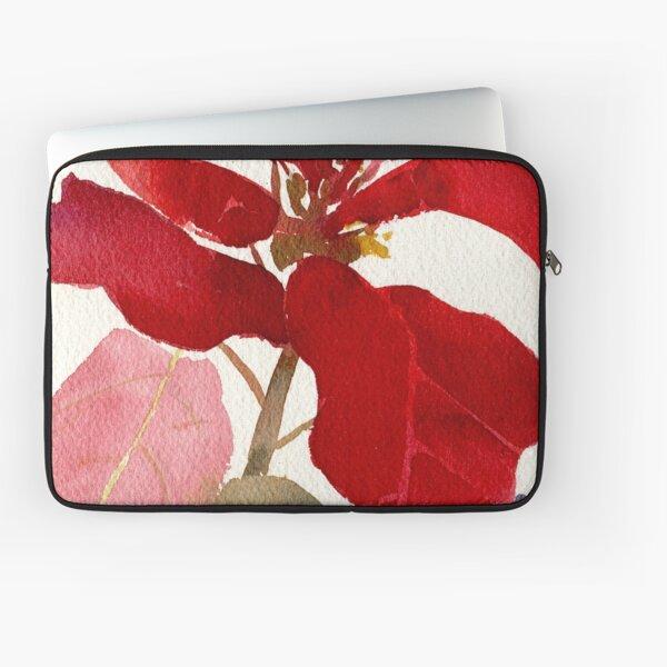 Poinsettia Watercolor Laptop Sleeve