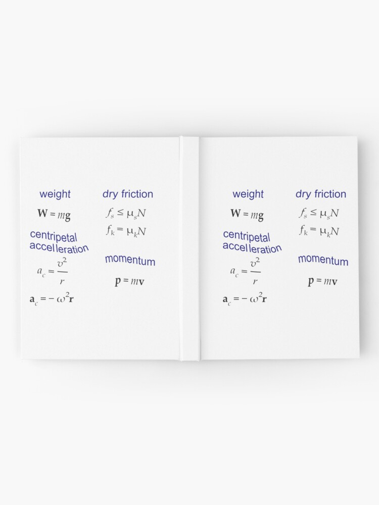 Alternate view of #Weight, Dry #Friction, Centripetal #Acceleration, #Momentum, Newton's Second Law, Equation of Motion, Velocity, Physics, Mechanics Hardcover Journal