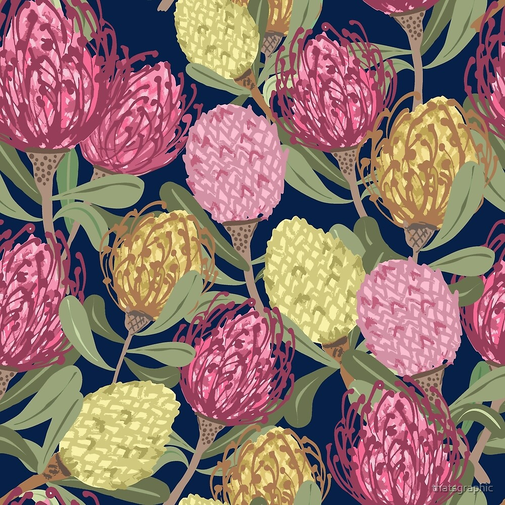 Vintage inspired Pinwheel Proteas by thatsgraphic