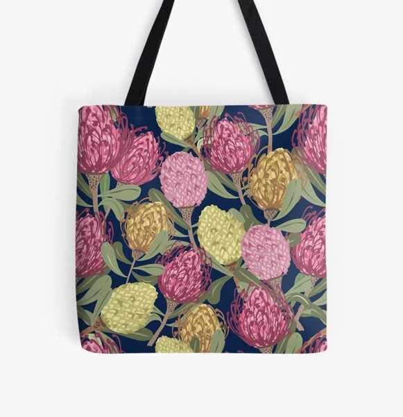 Vintage inspired Pinwheel Proteas pattern All Over Print Tote Bag