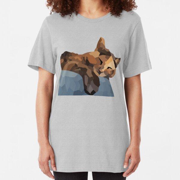 Tortoiseshell / Tortie cat portrait - Low Poly Slim Fit T-Shirt