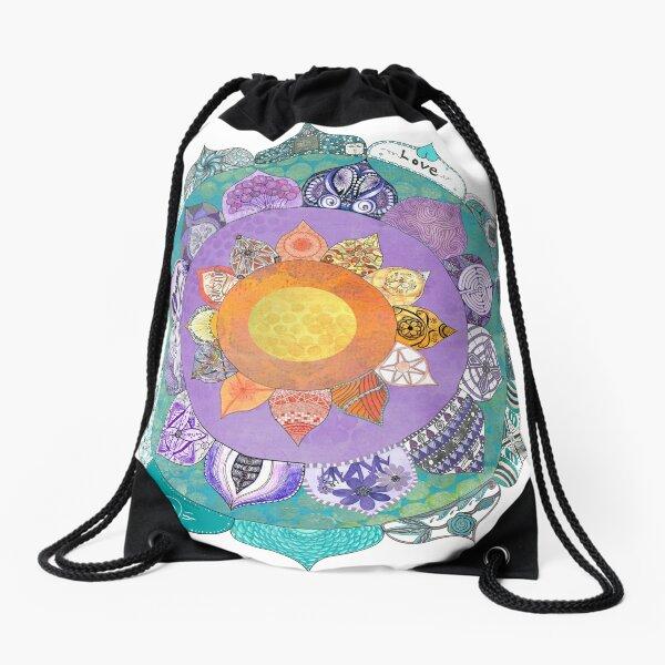 Community Mandala - Radiant Lotus Mandala Drawstring Bag