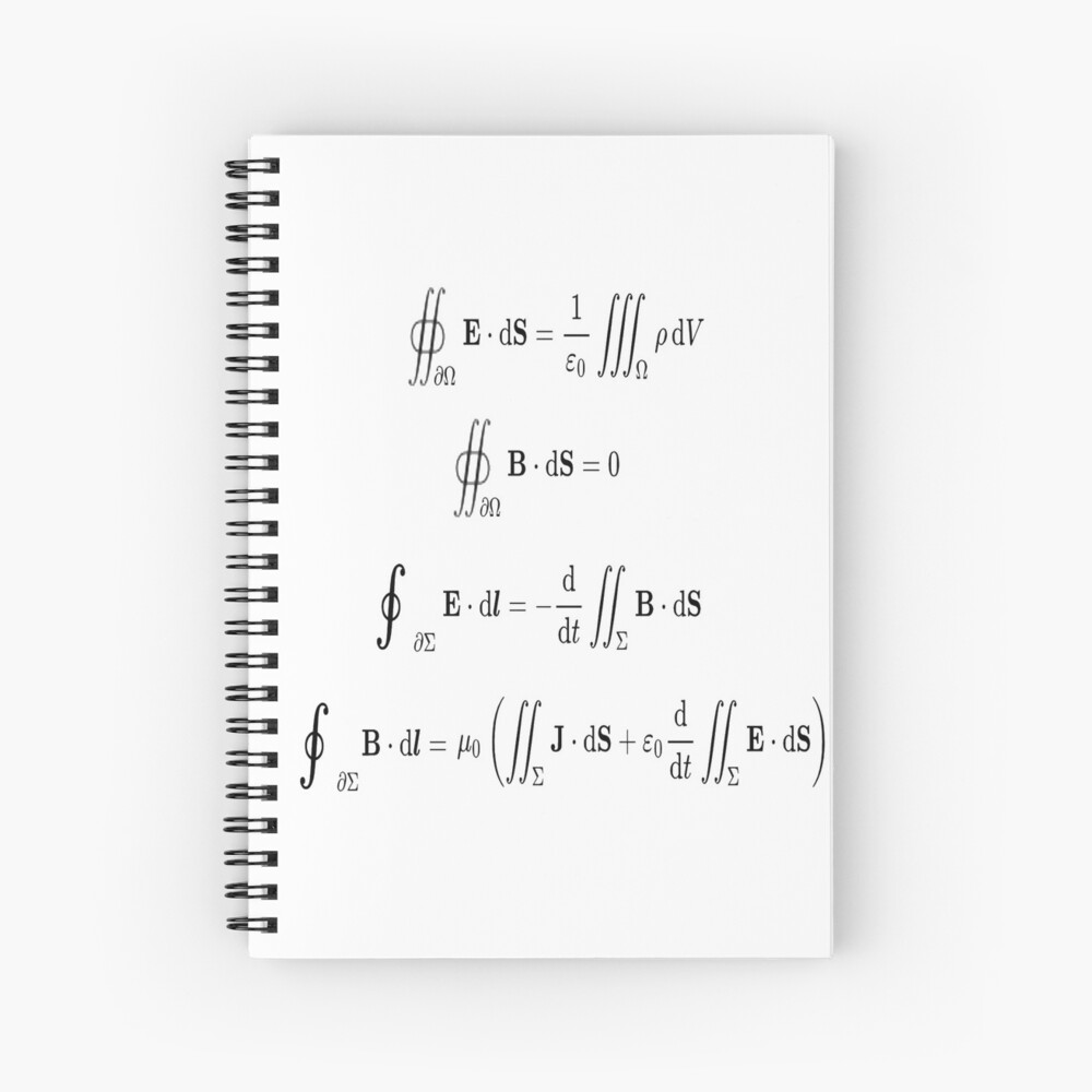 Maxwell's equations, #Maxwells, #equations, #MaxwellsEquations, Maxwell, equation, MaxwellEquations, #Physics, Electricity, Electrodynamics, Electromagnetism Spiral Notebook