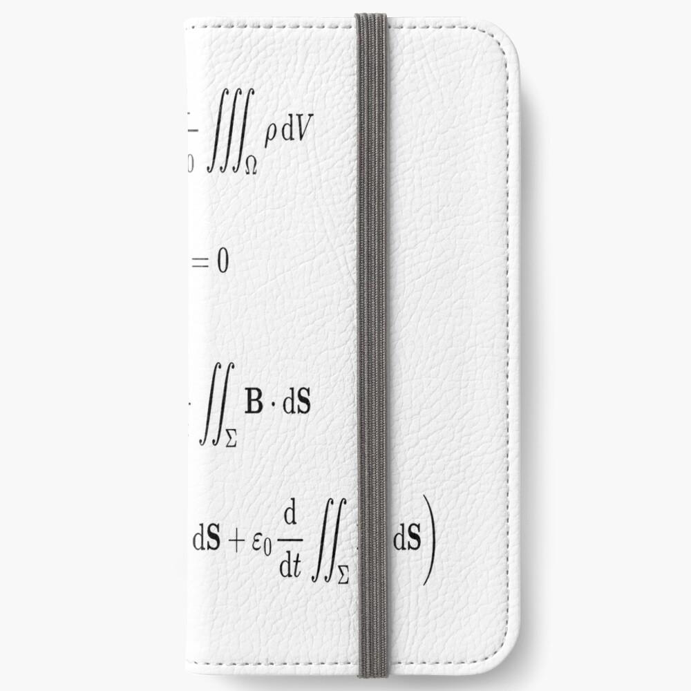 Maxwell's equations, #Maxwells, #equations, #MaxwellsEquations, Maxwell, equation, MaxwellEquations, #Physics, Electricity, Electrodynamics, Electromagnetism iPhone Wallet
