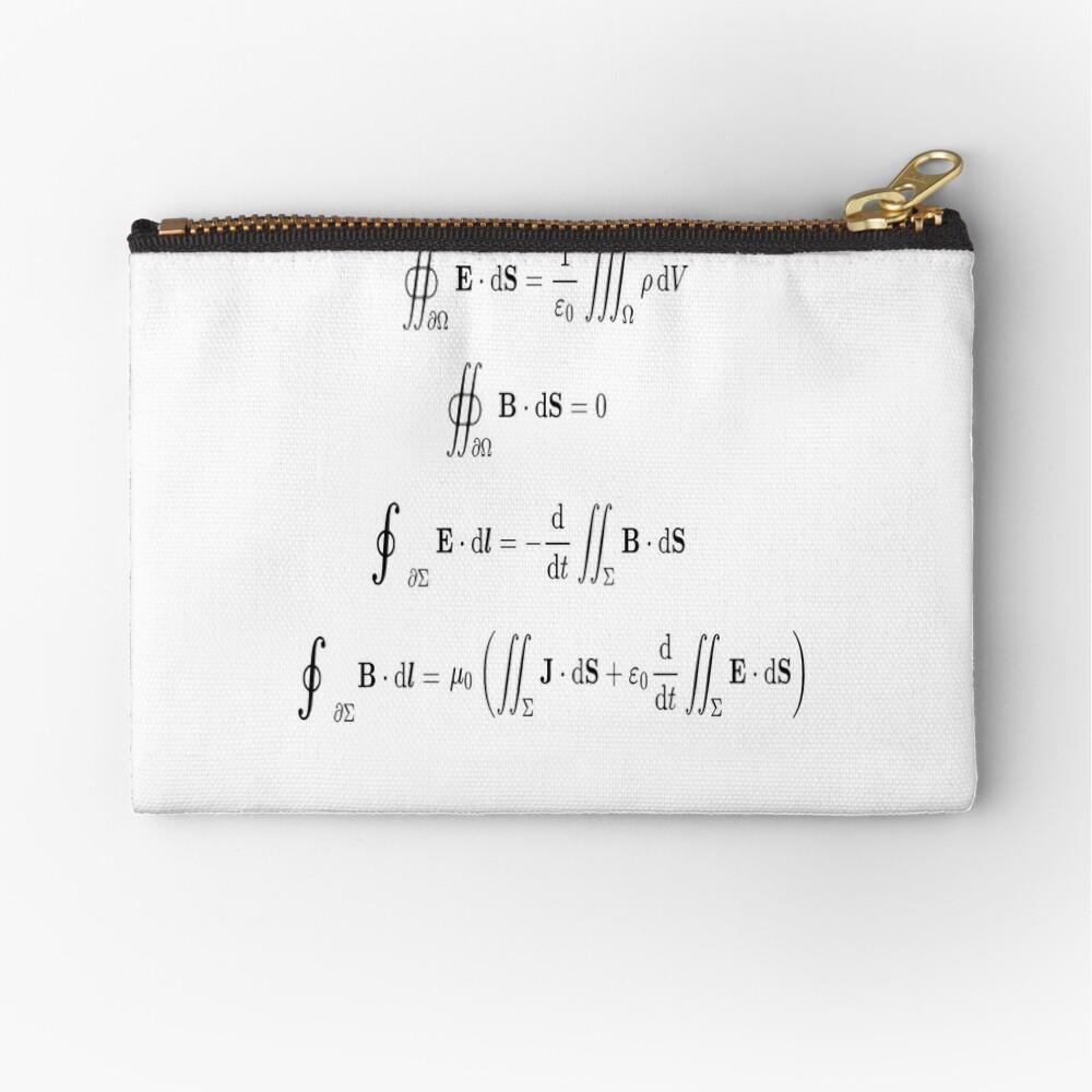 Maxwell's equations, #Maxwells, #equations, #MaxwellsEquations, Maxwell, equation, MaxwellEquations, #Physics, Electricity, Electrodynamics, Electromagnetism Zipper Pouch