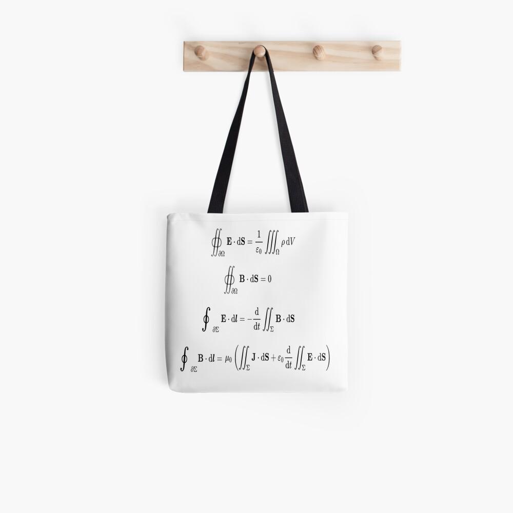 Maxwell's equations, #Maxwells, #equations, #MaxwellsEquations, Maxwell, equation, MaxwellEquations, #Physics, Electricity, Electrodynamics, Electromagnetism Tote Bag