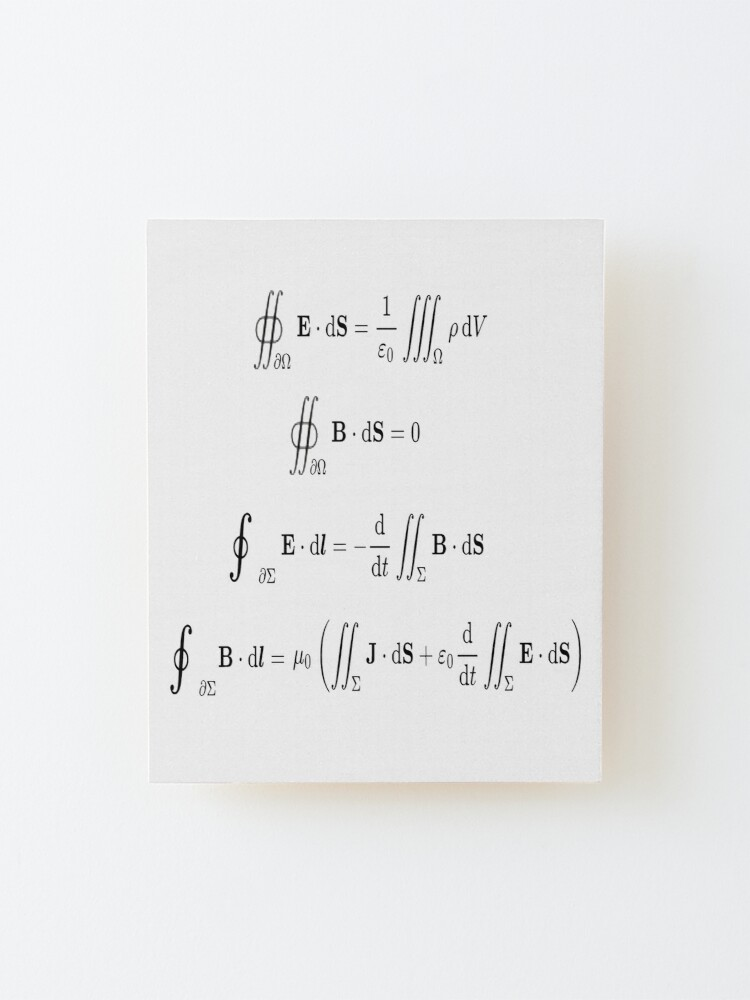 Alternate view of Maxwell's equations, #Maxwells, #equations, #MaxwellsEquations, Maxwell, equation, MaxwellEquations, #Physics, Electricity, Electrodynamics, Electromagnetism Mounted Print