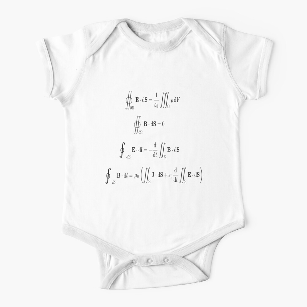 Maxwell's equations, #Maxwells, #equations, #MaxwellsEquations, Maxwell, equation, MaxwellEquations, #Physics, Electricity, Electrodynamics, Electromagnetism Baby One-Piece