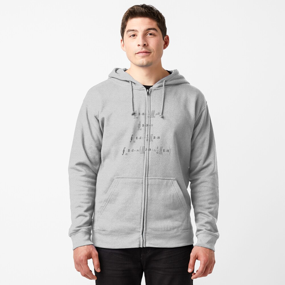 Maxwell's equations, #Maxwells, #equations, #MaxwellsEquations, Maxwell, equation, MaxwellEquations, #Physics, Electricity, Electrodynamics, Electromagnetism Zipped Hoodie