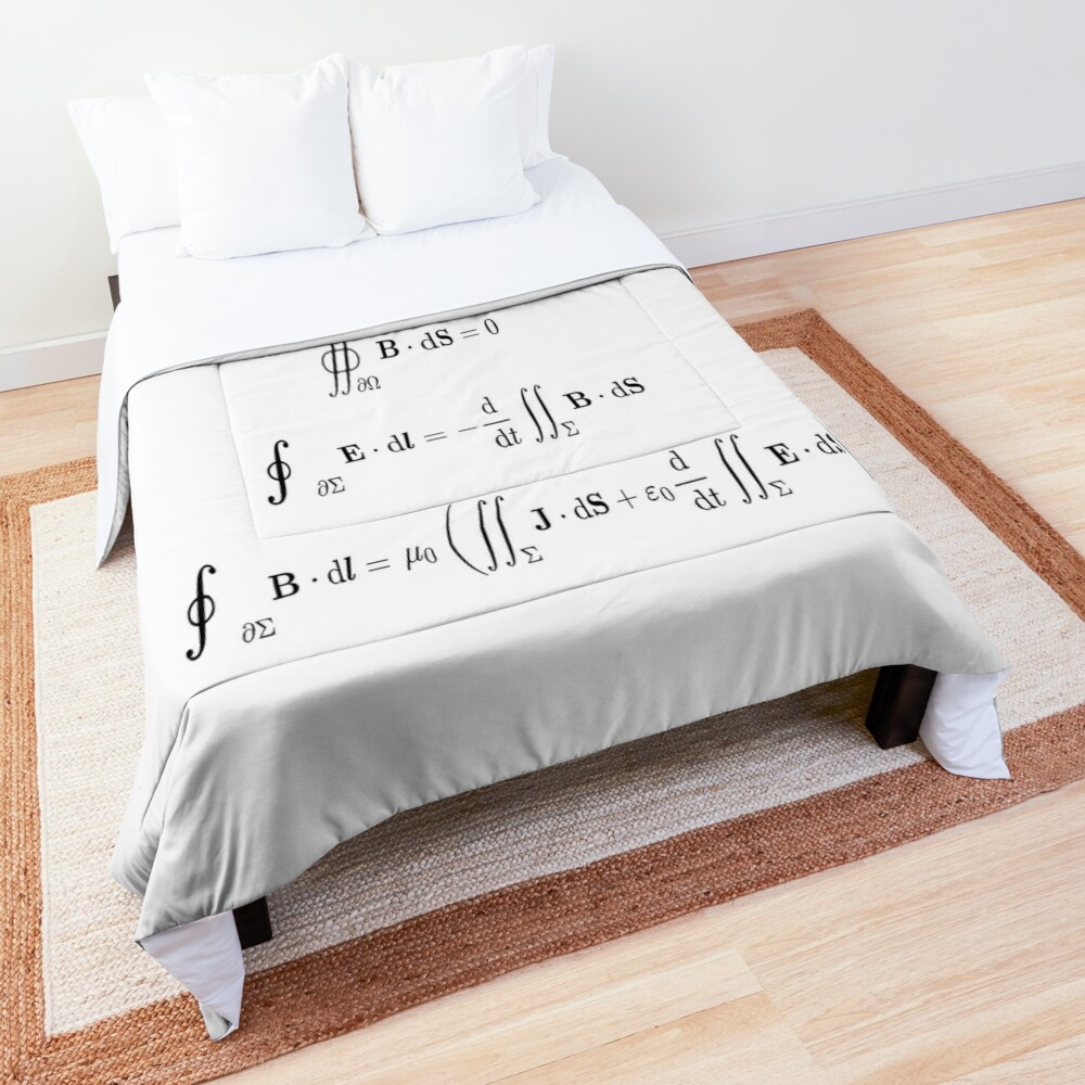 Maxwell's equations, #Maxwells, #equations, #MaxwellsEquations, Maxwell, equation, MaxwellEquations, #Physics, Electricity, Electrodynamics, Electromagnetism Comforter
