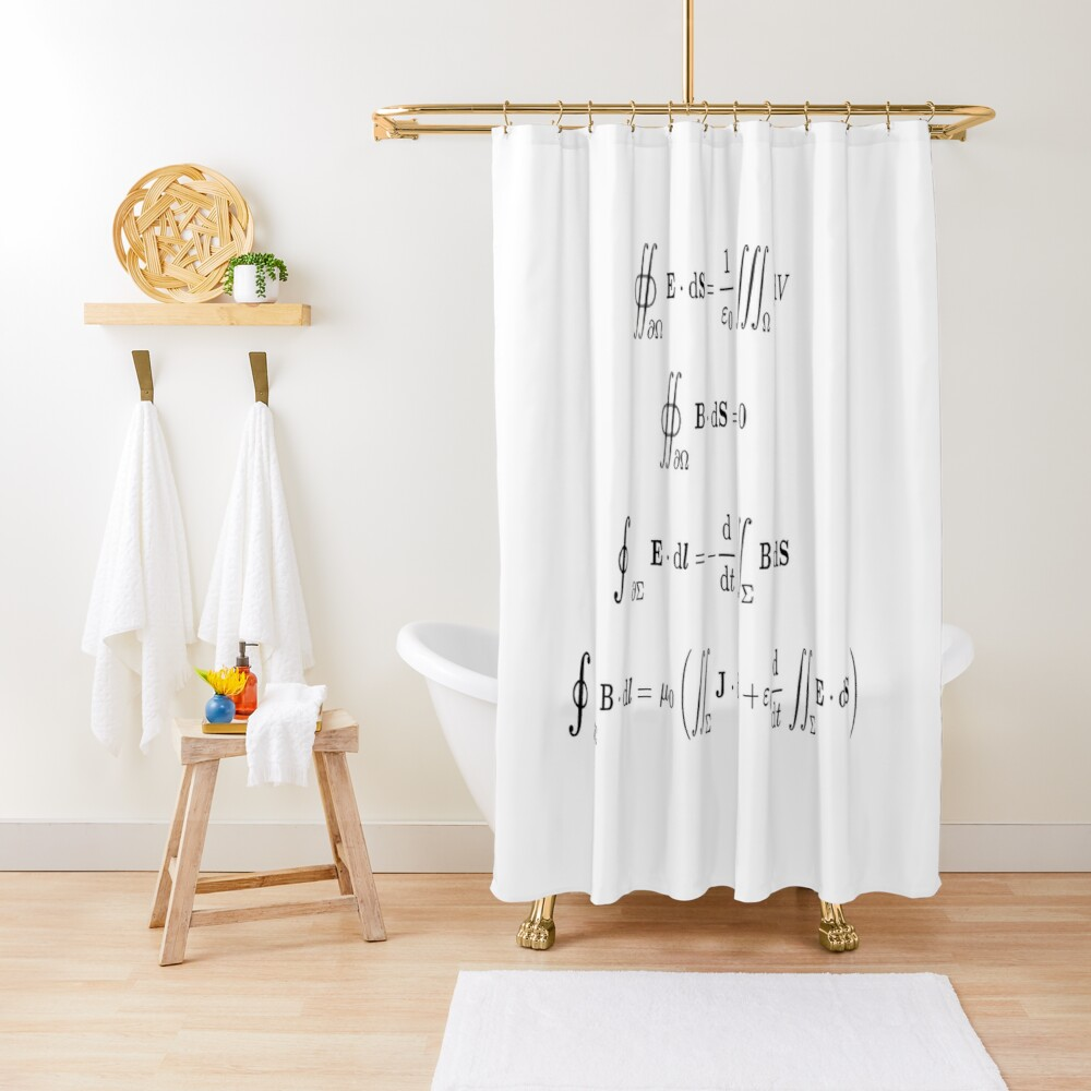 Maxwell's equations, #Maxwells, #equations, #MaxwellsEquations, Maxwell, equation, MaxwellEquations, #Physics, Electricity, Electrodynamics, Electromagnetism Shower Curtain