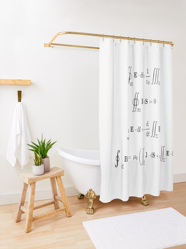 Alternate view of Maxwell's equations, #Maxwells, #equations, #MaxwellsEquations, Maxwell, equation, MaxwellEquations, #Physics, Electricity, Electrodynamics, Electromagnetism Shower Curtain