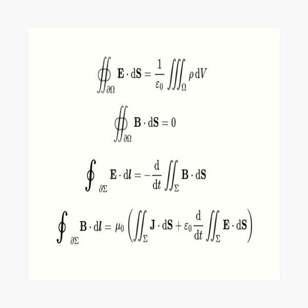 Maxwell's equations, #Maxwells, #equations, #MaxwellsEquations, Maxwell, equation, MaxwellEquations, #Physics, Electricity, Electrodynamics, Electromagnetism Art Print