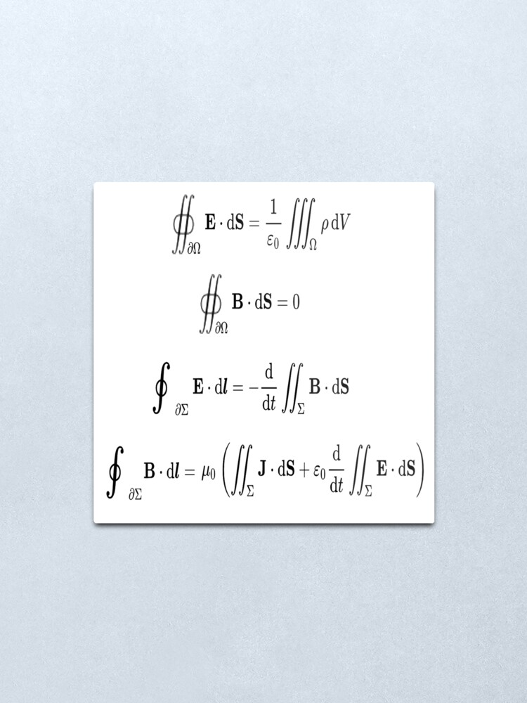Alternate view of Maxwell's equations, #Maxwells, #equations, #MaxwellsEquations, Maxwell, equation, MaxwellEquations, #Physics, Electricity, Electrodynamics, Electromagnetism Metal Print