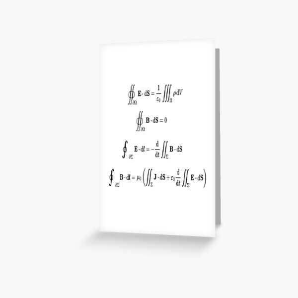 Maxwell's equations, #Maxwells, #equations, #MaxwellsEquations, Maxwell, equation, MaxwellEquations, #Physics, Electricity, Electrodynamics, Electromagnetism Greeting Card