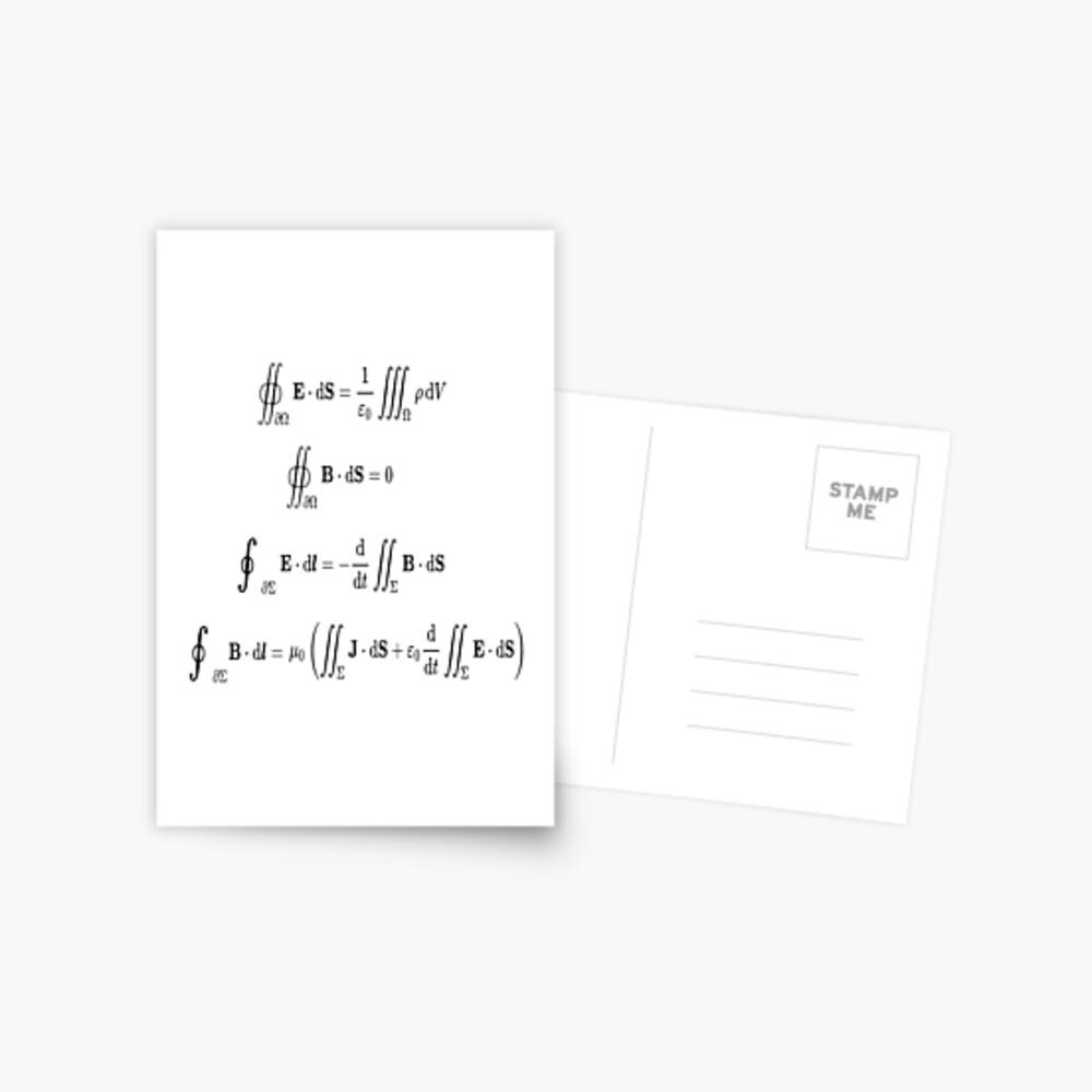 Maxwell's equations, #Maxwells, #equations, #MaxwellsEquations, Maxwell, equation, MaxwellEquations, #Physics, Electricity, Electrodynamics, Electromagnetism Postcard