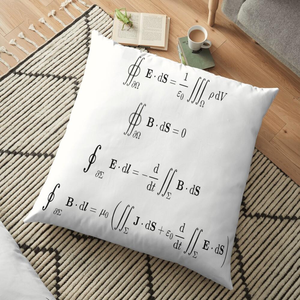 Maxwell's equations, #Maxwells, #equations, #MaxwellsEquations, Maxwell, equation, MaxwellEquations, #Physics, Electricity, Electrodynamics, Electromagnetism Floor Pillow