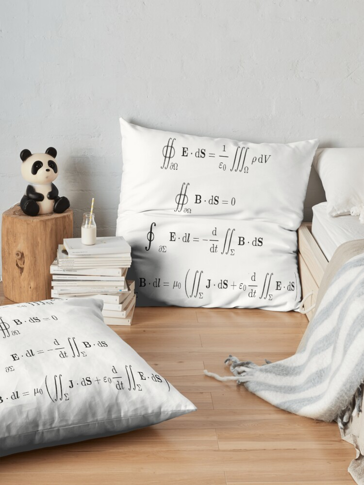 Alternate view of Maxwell's equations, #Maxwells, #equations, #MaxwellsEquations, Maxwell, equation, MaxwellEquations, #Physics, Electricity, Electrodynamics, Electromagnetism Floor Pillow