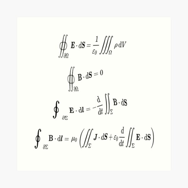 Maxwell's equations, #Maxwells, #equations, #MaxwellsEquations, Maxwell, equation, MaxwellEquations, #Physics, Electricity, Electrodynamics, Electromagnetism Art Print