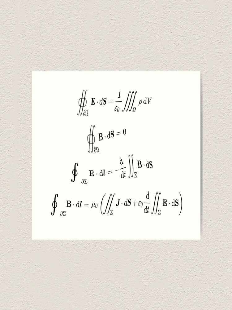 Alternate view of Maxwell's equations, #Maxwells, #equations, #MaxwellsEquations, Maxwell, equation, MaxwellEquations, #Physics, Electricity, Electrodynamics, Electromagnetism Art Print